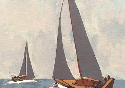 2 Grey Sails 9 x 12