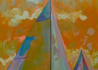 2 Sailboats With Yellow-Orange Sky 16 x 20