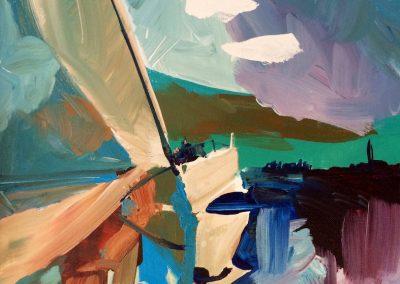 Abstract Sailboat 16 x 20