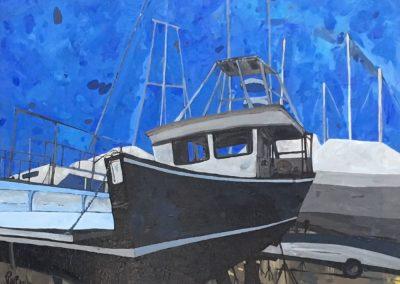 Black Boat On Stilts 16 x 20