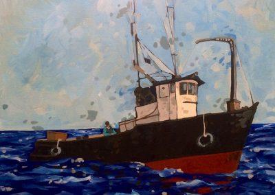 Black Hulled Boat At Sea 24 x 30