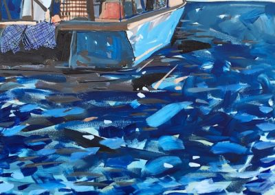Blue Lobster Boat With Reflections 30 x 40