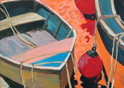 Dinghy In Orange Water 16 x 20