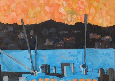 Orange Sky, Blue Boats 18 x 36