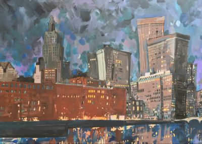 Providence Night Skyline 24 x 36