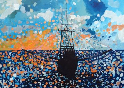 Silhouetted Trawler With Vibrant Sky 18 x 24