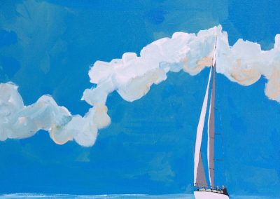 Single Sailboat, Blue Sky And Water 16 x 20