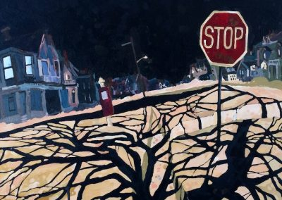 Stop Sign With Tree Shadows (framed) 19 1/2 x 25 1/2