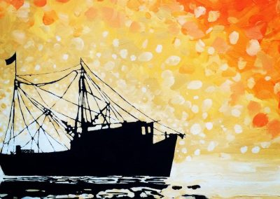Yellow Orange Silhouetted Boat (cropped) 16 x 20